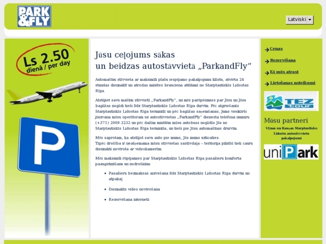 Park & Fly, Parking Serviss, SIA